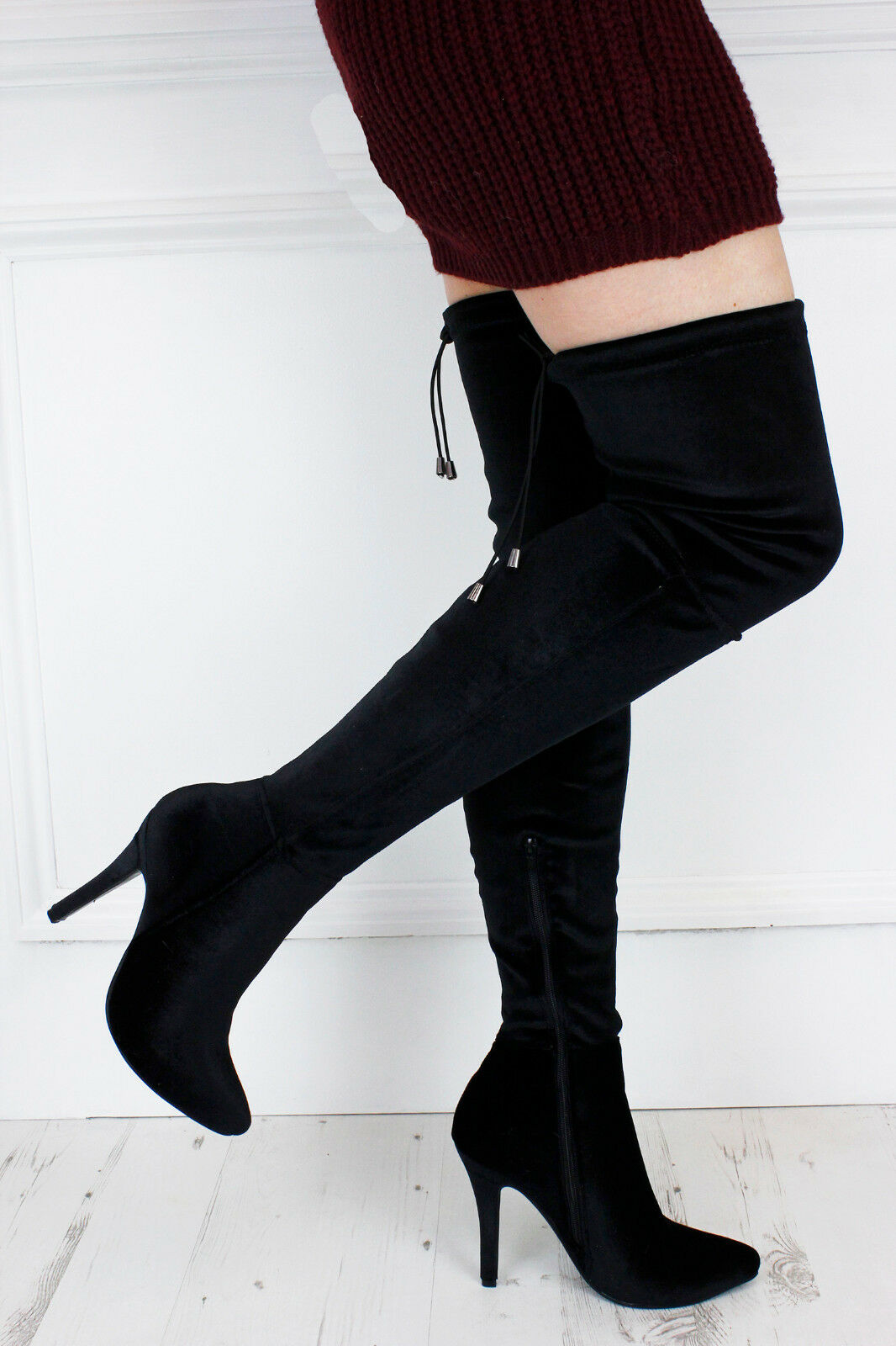 UK New Sexy Black Velvet Pointed Over Thigh Knee Lace Up Boots Glamzam Party