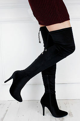 UK New Sexy Black Velvet Pointed Over Thigh Knee Lace Up Boots Glamzam Club