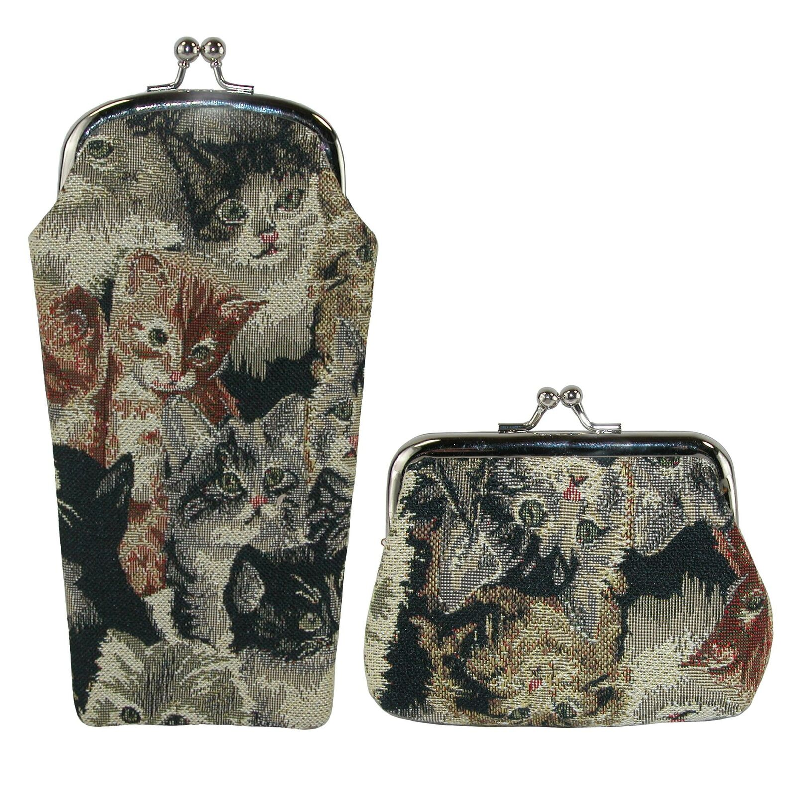 New CTM Women's Cat Print Tapestry Glasses Case and Coin Purse Set