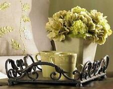 Serving Tray Large Coffee Table Ottoman Iron Leaf Scroll Ornate Rustic Decor NEW