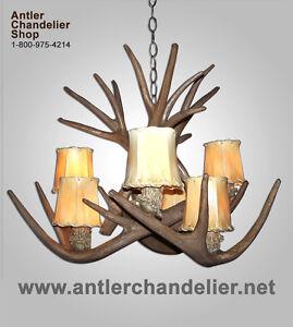 Faux antler mule deerwhitetail chandelier 6 light sockets rustic image is loading faux antler mule deer whitetail chandelier 6 light mozeypictures Images
