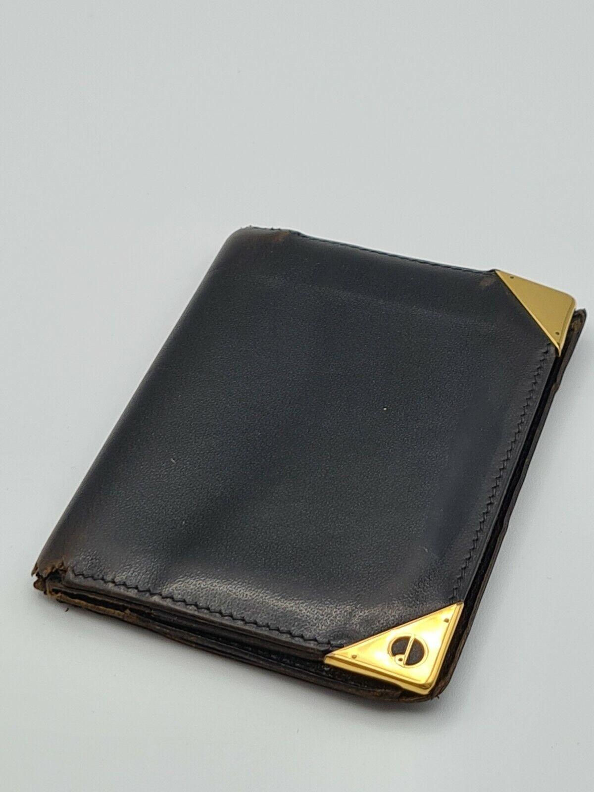 Dunhill Vintage Men's Black Leather Banknote Card Holder Thin Wallet