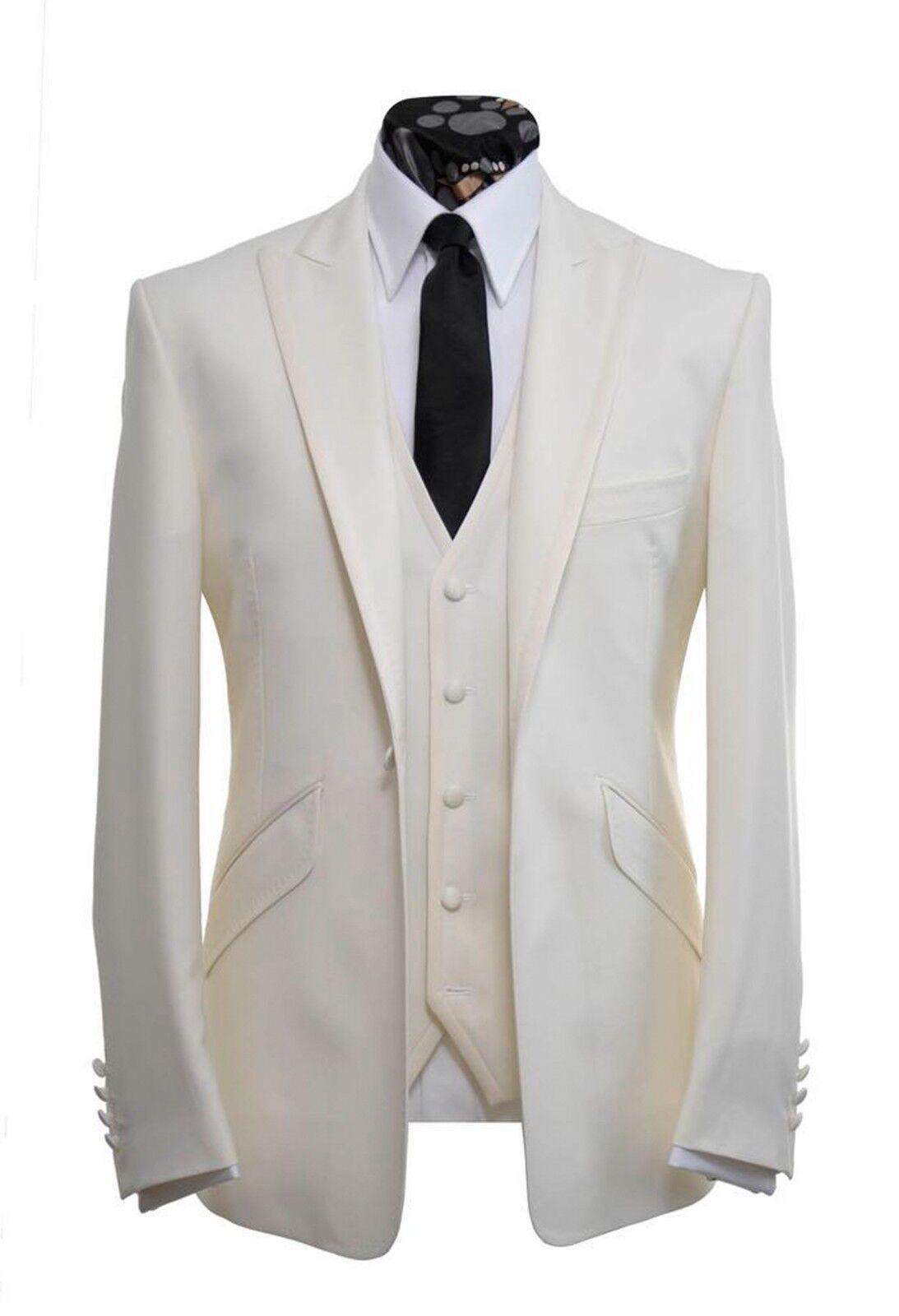 Men Ivory(Cream) Suits Designer Wedding Casual Dinner Suit (Coat+Waistcoat+Pant)
