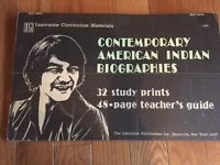 Vintage Teacher Study Posters Contemporary American Indian Biographies 1972