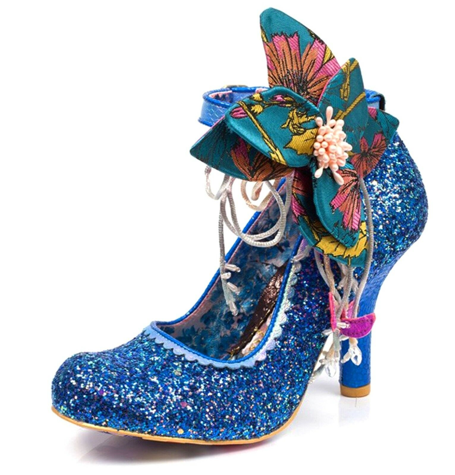 Irregular Choice NEW Sweet Melody high heel bluee glitter ankle strap shoes  3-9