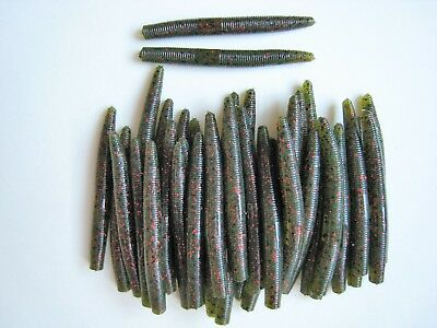 "Soft Plastic Bass Worms SCENT SALT CHARTREUSE PEPPER 25 pk 3/"" Senko Style"