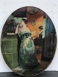 Jan-Jans-1893-1963-Boy-Lady-Man-At-Piano-Art-Nouveau-Interior-Roses-Fireplace
