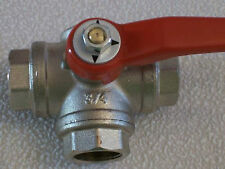 """Dreiwege Kugelhahn R 3/4"""" T-Bohrung für Druckluft, Wasser, Dampf, Lösungsmittel"""