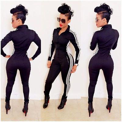 Sexy Hot women Sport suit Bodysuit Long Sleeve jumpsuits Pants Black