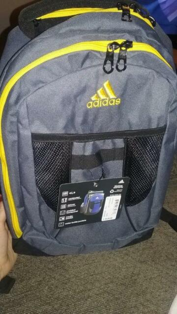 9696826c22 NEW ADIDAS ATKINS BACKPACK BOOKBAG YELLOW GRAY  5143919 DELUXE MEDIA POCKET
