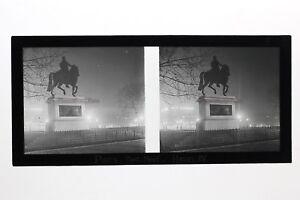 Henri IV Estatua París Francia Foto Estéreo 11n4 Placa De Cristal Vintage