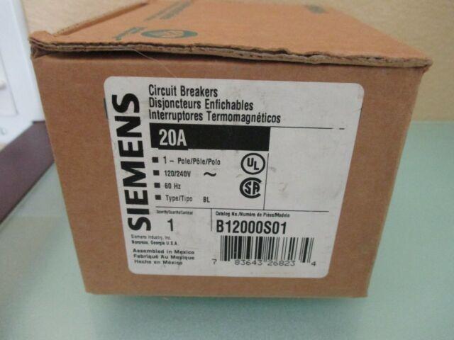 SIEMENS B12000S01 20 AMP SINGLE POLE   SHUNT TRIP CIRCUIT BREAKER bolt on