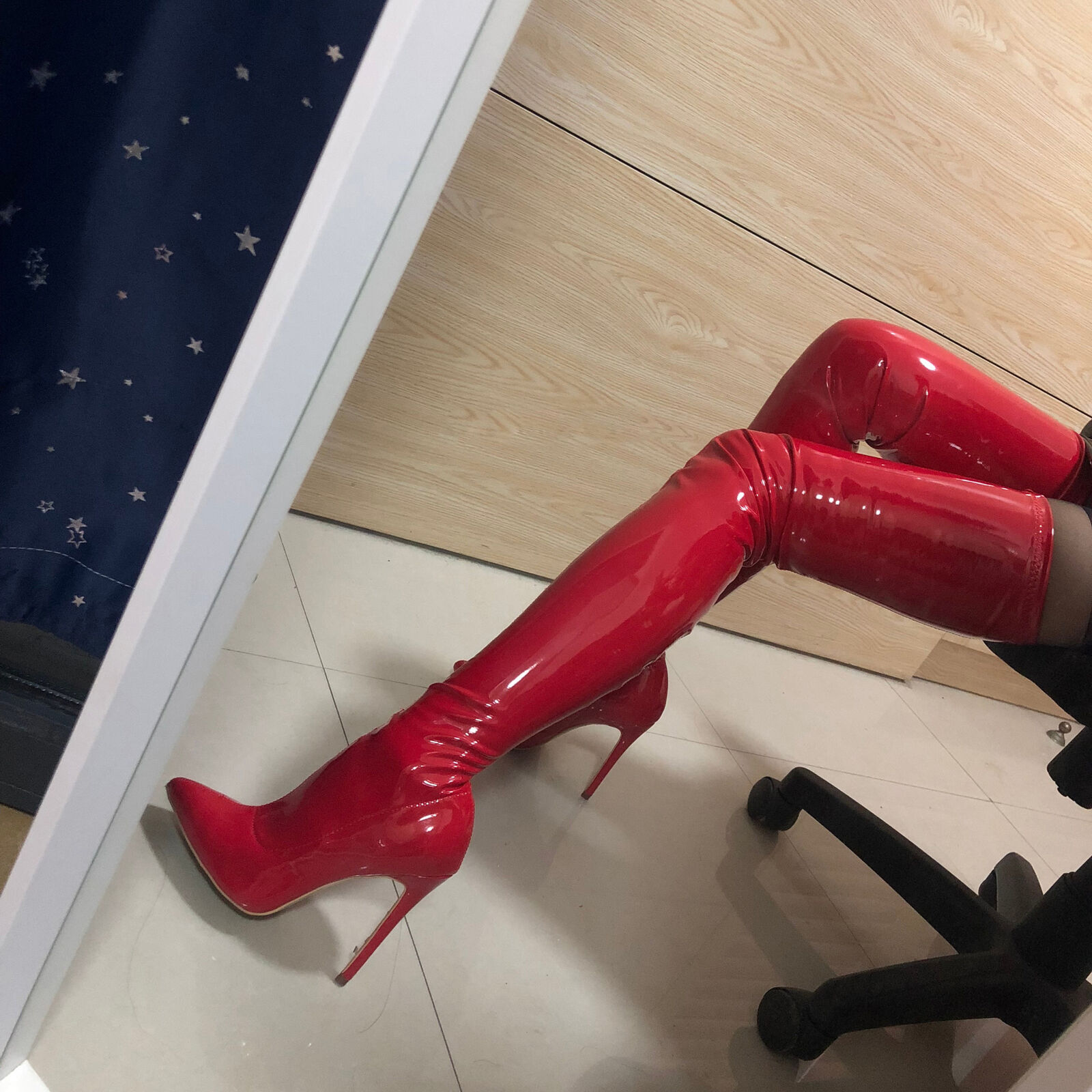 Women's Sexy Over Knee Boots Patent Leather High Heels Pointed Stiletto shoes