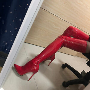 d34f62e999 Women's Sexy Over Knee Boots Patent Leather High Heels Pointed ...