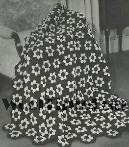 Details about Vintage Crochet Pattern Hexagon Flower Afghan/Blanket