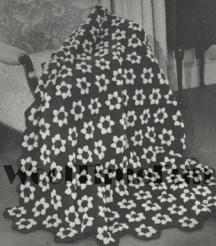 Vintage Crochet Pattern Hexagon Flower Afghan//Blanket.