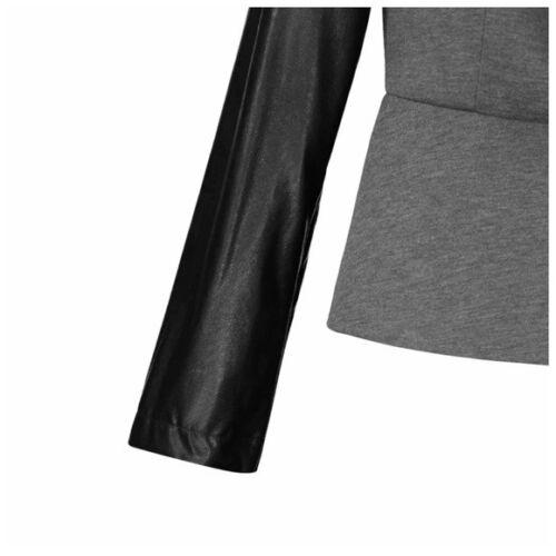 à polyvalent à zippé cuir manches et gris en Veste végétalien C84 asymétrique noir col WUwYq7Av