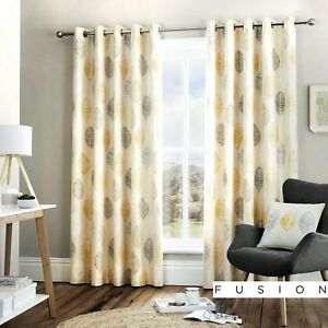 Fusion-SKANDI-LEAF-Ochre-Yellow-amp-Grey-100-Cotton-Eyelet-Curtains-amp-Cushions