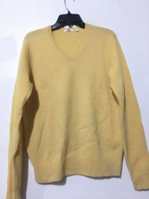 Uniqlo 100% Pure New Wool Größe S Gelb Sweater Men 81130512 RN 115307