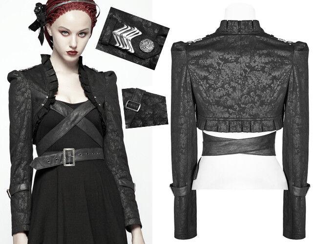 Veste boléro jacquard gothique lolita victorien steampunk ceinture schwarz PunkRave