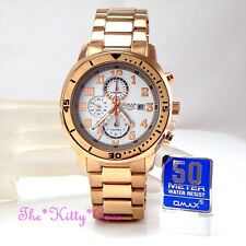 OMAX Waterproof Hattori Seiko Movt Rose Gold Plate 5BAR Chronograph Watch XT9003