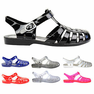 LADIES-WOMENS-FLAT-RUBBER-RETRO-90S-JELLY-BUCKLE-SANDALS-FLIP-FLOPS-SHOES-SIZE