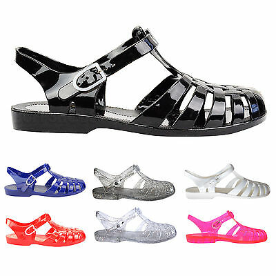 LADIES WOMENS FLAT RUBBER RETRO 90S JELLY BUCKLE SANDALS FLIP FLOPS SHOES SIZE