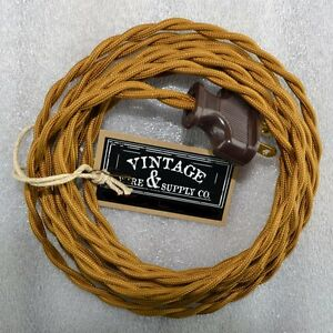 Excellent Antique Bronze Cloth Covered Rewire Lamp Cord Wire Plug Wiring Database Numdin4X4Andersnl