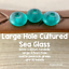 Matte Peacock Green Large Hole Rondelle Cultured Sea Glass Beads