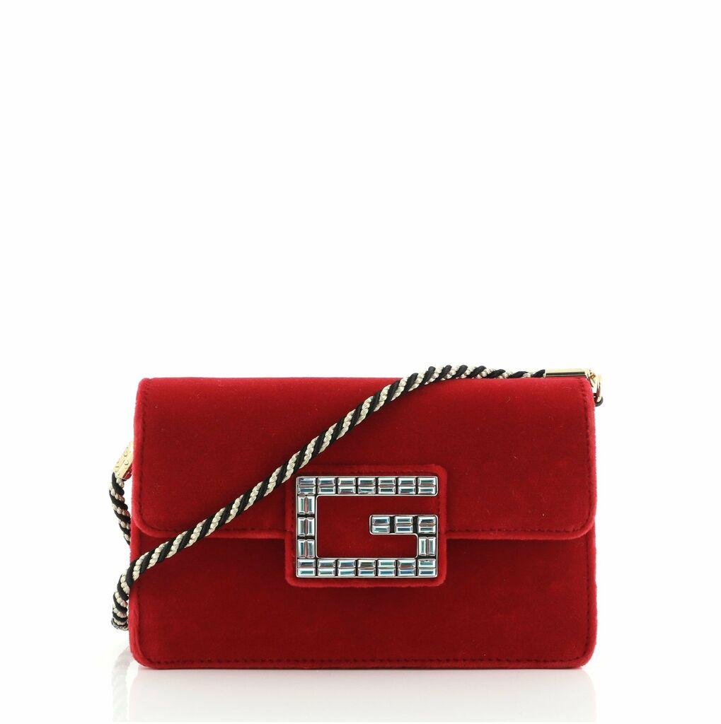Gucci G Broadway Shoulder Bag Velvet with Crystals Small  | eBay