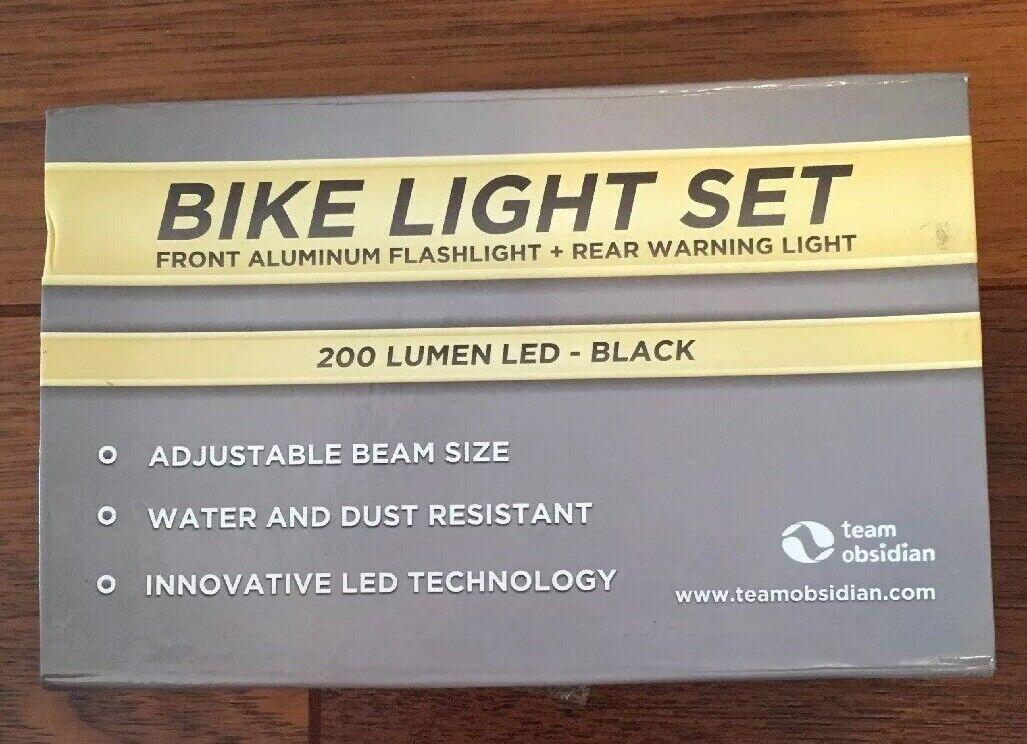 Team Obsidian Bike Light Set Front Aluminum Flashlight And Rear Warning Light X4