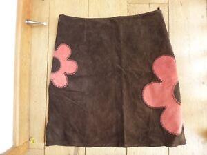 in Gonna taglia marrone a fiore scamosciata Vgc 100 color rosa cioccolato pelle 16 camoscio qxT1xF