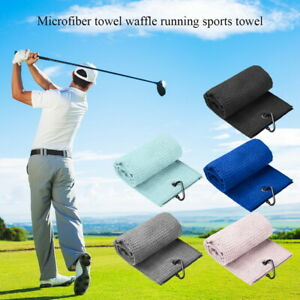 Golf-Towel-Waffle-Pattern-Cotton-With-Carabiner-Cleaning-Towel-Black-Blues-UK