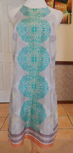 Aryn-K-Printed-Silk-Turquoise-High-Halter-Shift-Dress-Size-10-12-BNWT