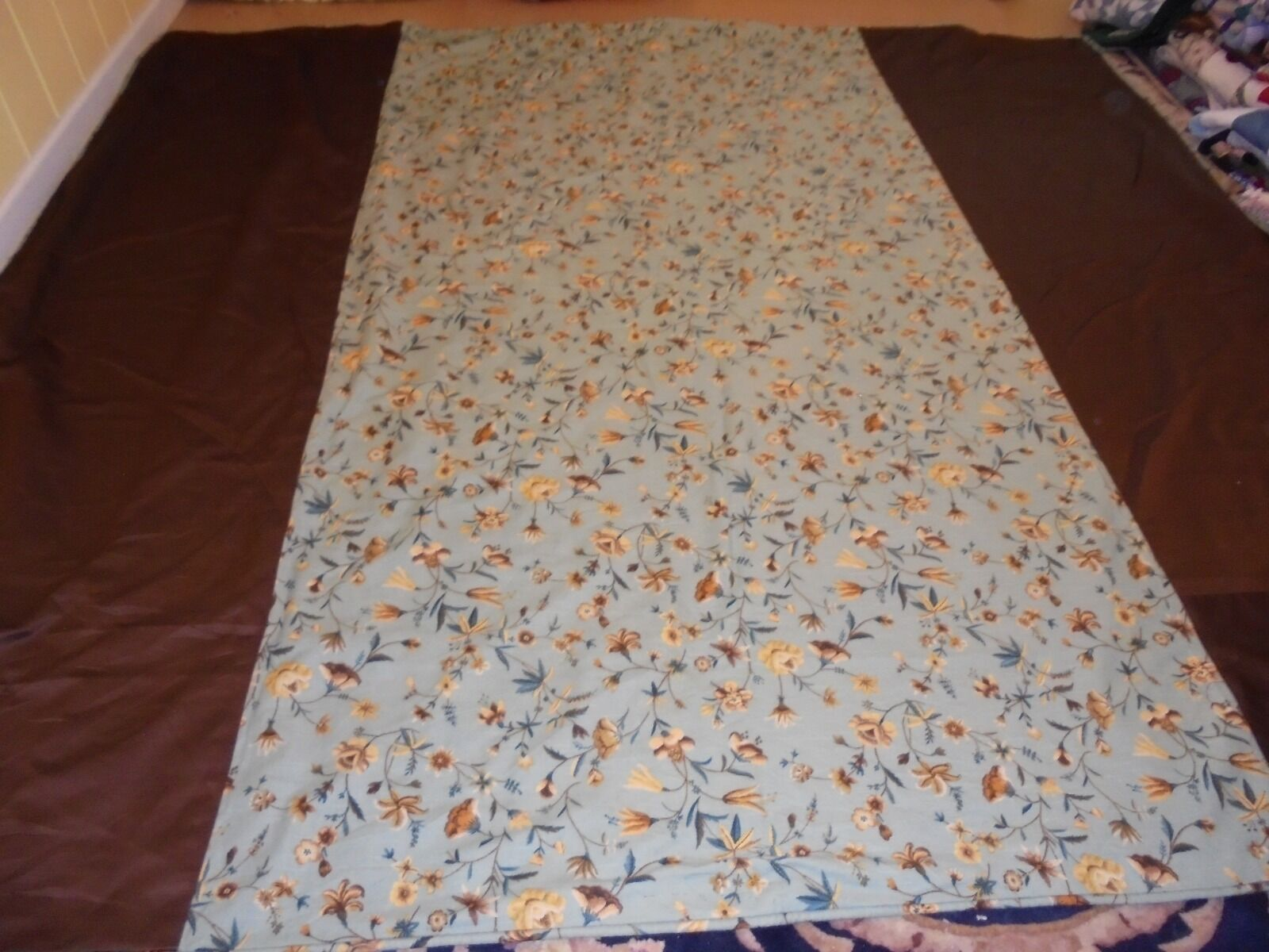 Nice braun, Blau & Gelb Whole Cloth Floral Pattern Pieced Quilt