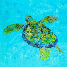 SEA TURTLE Fabric Panel Coastal Ocean Quilt Square Tropical Hawaiian Green Blue