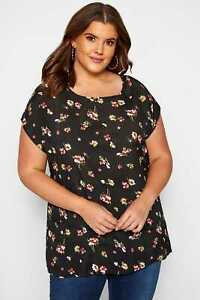 Yours Clothing Women/'s Plus Size Black /& Pink Floral Top