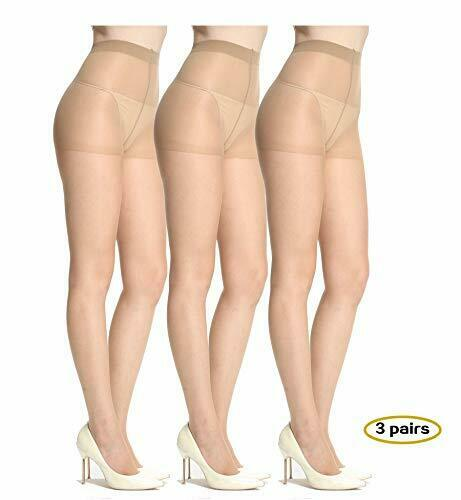 FREE P/&P 3 Pairs Joblot 15 Denier Sheer Nylon Natural Tan Tights Size Medium