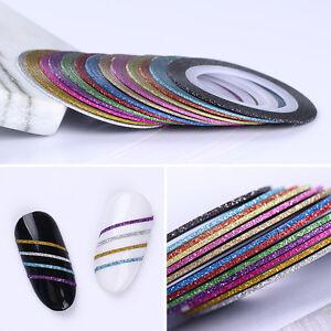 13Stk-1mm-Matt-Glitzern-Nagel-Streifen-Baender-Linie-Kleber-Aufkleber-Manikuere