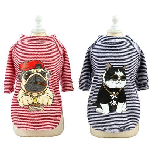 Pet Cat Dog T-shirt Vest Stripes Vest Shirt French Bulldogs Clothes Dog//Cat Head