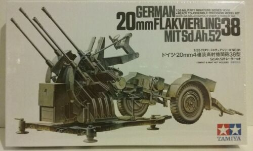 German 20mm.Flakvierling 38 with Sd.Ah.53 trailer. Tamiya 1//35 scale kit 35091