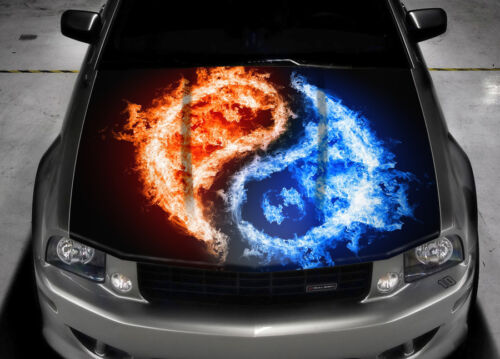 YIN-YANG Hood Full Color Graphics Wrap Decal Vinyl Sticker Fit any Car #044