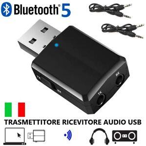 Adattatore USB Wireless Bluetooth 5.0 Ricevitore Trasmettitore Audio AUX PC AUTO