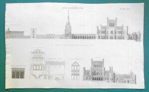 ARCHITECTURE-Ashridge-House-Estate-Hertfordshire-England-1810-Antique-Print