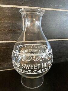 "HOME SWEET HOME Glass Hobnail Rim Hurricane Lamp Chimney Globe 8 1/2"""