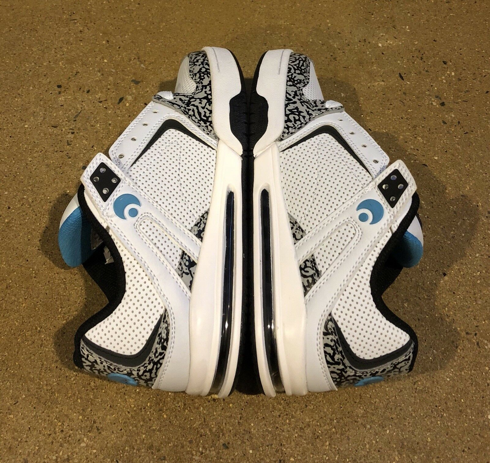 Osiris Pxl Uomo's Size 5.5 US White Cyan Elephant Peril BMX DC Skate Shoes