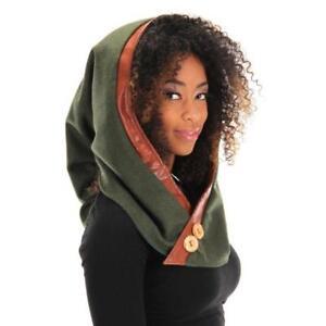 e16afc89b9a robin hood hat Woodland Elf Hood Green medieval head piece dwarf ...
