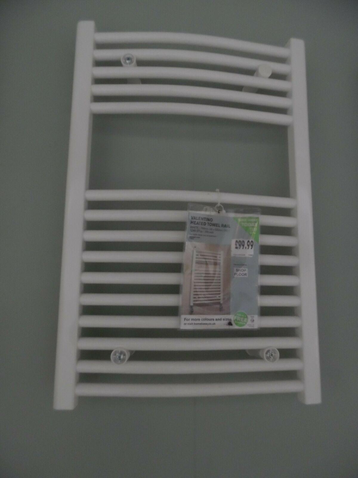 Ex Display Homebase Valentino Heated Towel Rail - White 764 x 500mm