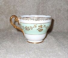 Royal Standard Tea Cup Pale Green Band Gold Floral Scroll Pattern Gold Handle