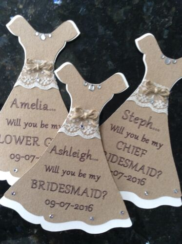 Rustic Vintage Wedding /'Will You Be My Bridesmaid?/' Personalised Dress Magnet